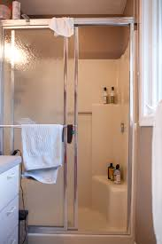 bathroom shower enclosure before molded fiberglass shower stall with sliding glass doors