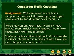 compare and contrast essay comparing media coverage page cos assignment write an essay in which you compare and contrast the coverage of a single