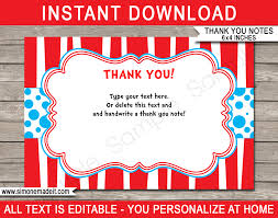 Printable Thank You Cards Dr Seuss Party Thank You Cards Template