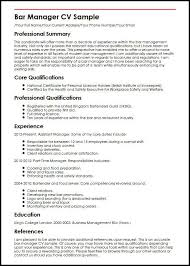 Bar Manager Resume Examples Examples Of Resumes