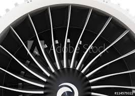 close up of jet fan engine turbo blades 3d rendering image