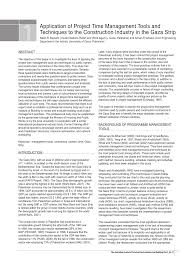 Pdf Application Of Project Time Management Tools And