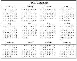 Word 2020 Calendars Printable Yearly Calendar 2020 Template With Holidays Pdf