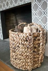 use a basket to logs by a fireplace