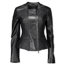 armani jeans ribbed panel faux leather jacket black