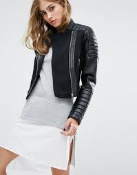 noisy may leather look wool mix biker jacket black women jackets noisy may faux leather jacket with ribbing here