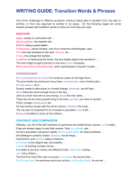 Writing Guide Transition Words Phrases