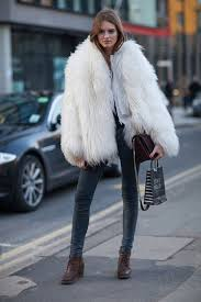 coat white fur coat big fur coat fur coat white coat jeans grey jeans boots mid heel boots brown boots bag brown bag streetstyle winter outfits