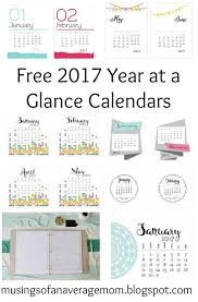 week at a glance calendar 2017 year at a glance calendars free printable free and free