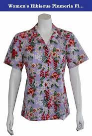 Womens Hibiscus Plumeria Floral Hawaiian Shirt M Lavender