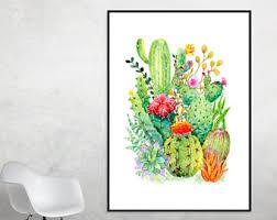 cactus wall art etsy
