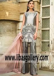 Pakistani Designer Dresses In Toronto Cutwork Slate Gray Zantedeschia