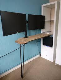 IKEA Custom Desk Kallax Shelving Unit White Hairpin Leg Solid Wood Tabletop