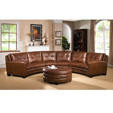 curved sectional couch new meadows brown top grain leather sofa and ottoman for round sleeper with