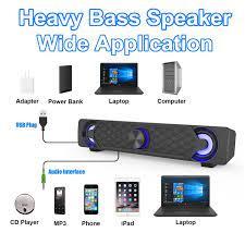 Smalody bilgisayar hoparlör 10W HiFi Stereo Subwoofer USB Powered müzik  çalar AUX Soundbar LED ışık efekti hoparlör PC Smartphone|Computer  Speakers