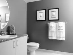 Trendy White Wooden Double Door Vanity Sink As Well As Towel Bar Hang On  Grey Wall Color In Guest Grey Bathroom Designs