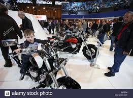 Motorcycle Display Stand Large motorcycle display stand with young boy on a bike at the NEC 37