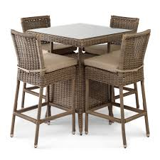 Bar Table And Chairs Set Alcee Resin Wicker Outdoor Patio 5 Piece Bar Table And Chair Set
