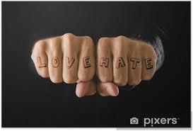 Plakát Láska A Nenávist Tetování Ruce Zaťaté V Pěst