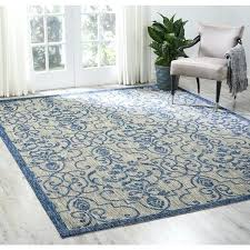 7 by 10 area rugs garden party ivory blue indoor outdoor area rug 7 x 10