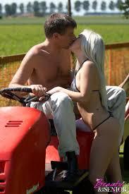 Young old sex. An old guy on a lawnmower fucks a hot bik XXX Dessert