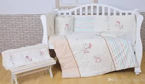 100 cotton baby bedding set white crib bedding set white embroidery lovely pony quilt pillow per bed sheet 5 item cot bedding set comforter sets boys