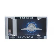 nova 63 1963 chevy ii chevrolet nova chrome license plate frame