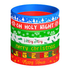 FEPITO 42 Pieces <b>Christmas Silicone</b> Wristbands Rubber <b>Band</b> ...