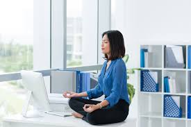 meditation in office. Office-woman-meditating Meditation In Office