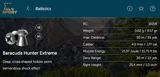 177 Air Rifle Trajectory Chart H N Online Ballistics And Pellet Selector