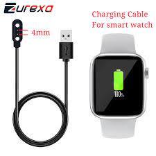 Zurexa şarj kablosu için IWO W26 akıllı saat 2PIN 4mm manyetik şarj kablosu  için akıllı saat aksesuarları USB saat kablosu|Smart Accessories