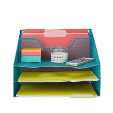 Mesh Desk Organizer 5 Trays Desktop Document Letter Tray For Folders Mail Stationary Desk Accessories Turquoise