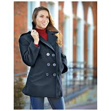 issue military surplus wool pea coat black to zoom