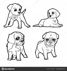Set Van Schattige Hond Tekenfilm Kleurplaten Pagina Vector