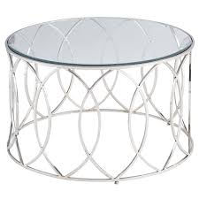 accent tables stylish stainless steel coffee table round shape silver color glass toptable modern geometric design