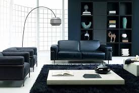 Living Room Black Leather Sofa Black Leather Sofa Rectangle White High Gloss Table Black Comfy