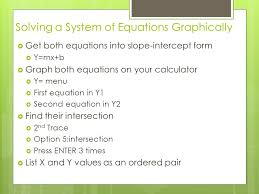 system of equations in two variables graphically intersection substitution 4 solving