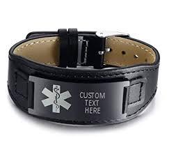 VNOX 20mm Width <b>Personalised</b> Black <b>Stainless Steel</b> Medical Alert ...