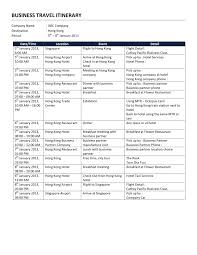 Business Itinerary Template Wi