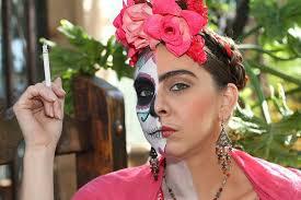 fusion frida kahlo and sugar skull