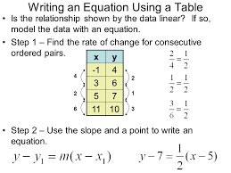 6 writing an equation using a table is the relationship shown by the data linear