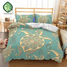 helengili 3d bedding set sea turtle print duvet cover set lifelike bedclothes with pillowcase bed home textiles 2 04 black comforter sets queen king size
