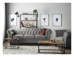 Sofa Set Polsterbezug Hellgrau 4 Sitzer Chesterfield Groß