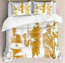 duvet cover set vintage style ilration of jazz band playing the blues home vibes art bedding set comforters sets duvet covers for