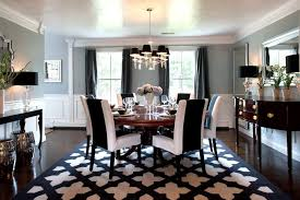 area rug black chandelier chrome stools console table curtain panels high gloss ceiling dark stained wood floor gray walls my houzz round dining table