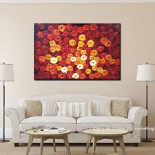 Paintings For Walls Of Living Room Newhandpainted Red Roses Modern Knife Oil Paintings On Canvas