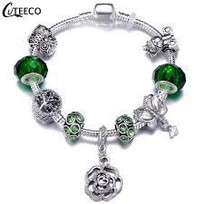 <b>CUTEECO</b> New Rose Dangle Charm Bracelet Unicorn Owl Tree Of ...