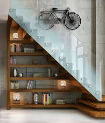 Accessories: Wooden White Bookcase In The Stairs - Bookshelves Ideas
