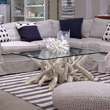 small spaces living room design with square glass top crate and barrel driftwood coffee table plus gray microfiber u sofa and navy themed carpet tiles ideas