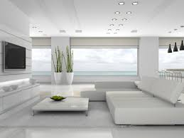 modern white living room furniture. Fabulous All White Modern Living Room With Spectacular View And Large Screen TV Furniture L